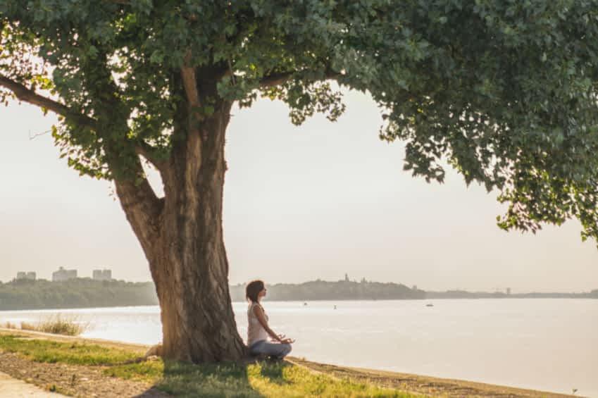 Eine Frau sitzt unter einen großen Baum an dem Ufer eines Sees. Sie sitzt in einem aufrechten Schneidersitz und Meditiert. Die Sonne scheint und spiegelt sich im Wasser.
